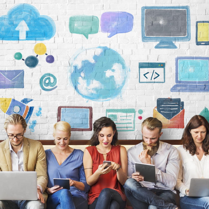 Diversity People Connection Digital Devices Browsing Concept.  stock images