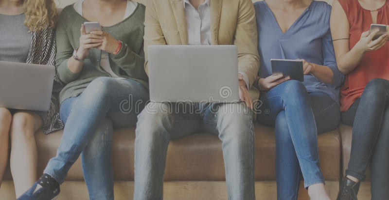 Diversity People Connection Digital Devices Browsing Concept. People Using Technology Connection Digital Devices Browsing stock photo