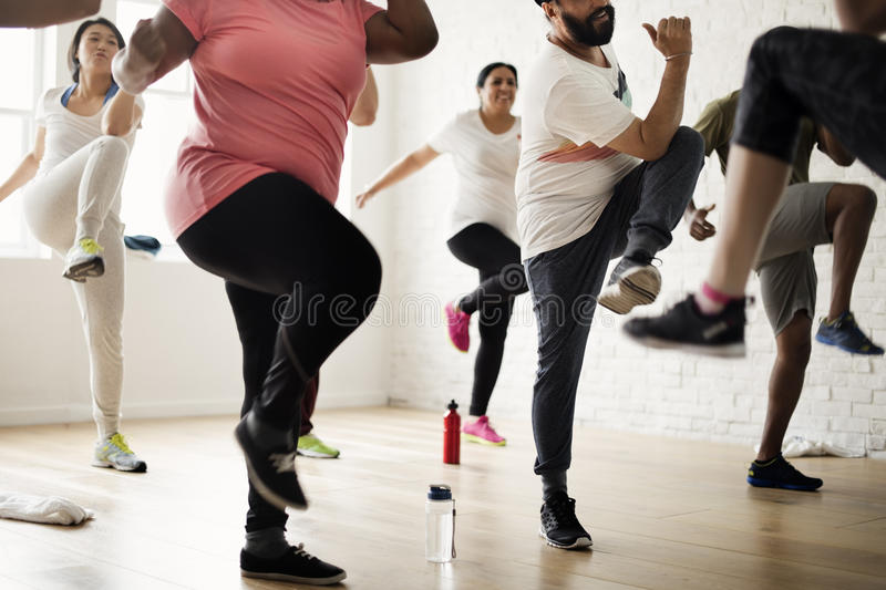 Diversity People Exercise Class Relax Concept stock image