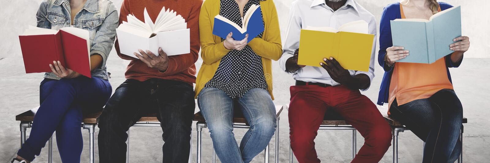 Diversity People Reading Book Inspiration Concept.  stock photography