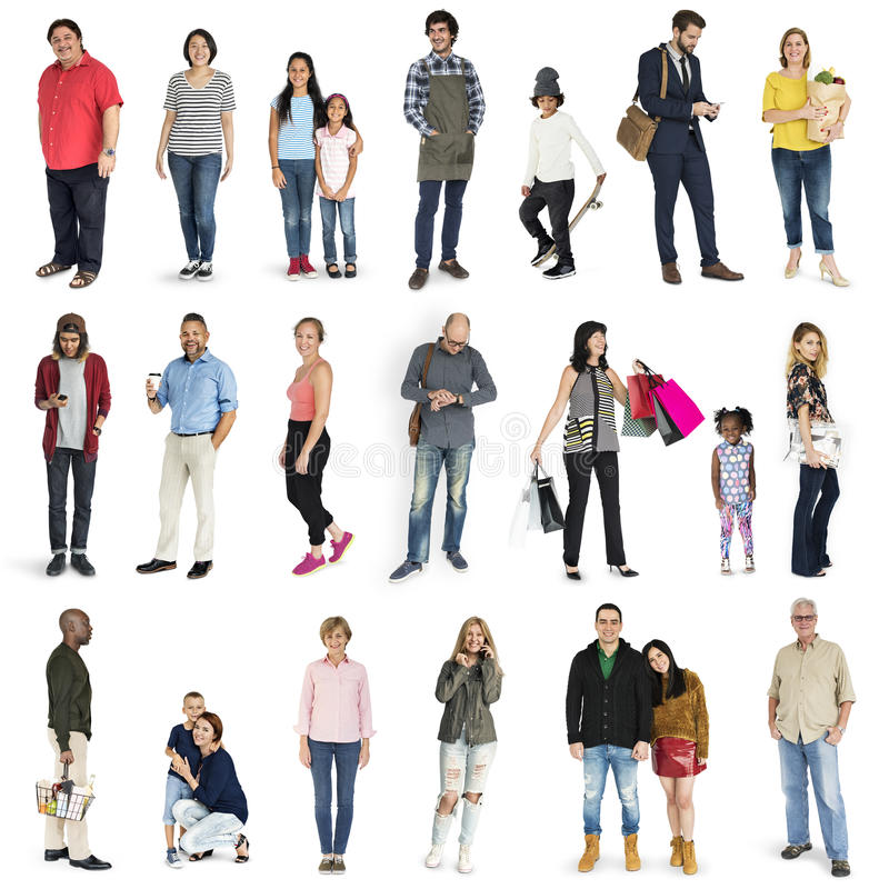 Diversity People Set Gesture Standing Together Studio Isolated royalty free stock photography