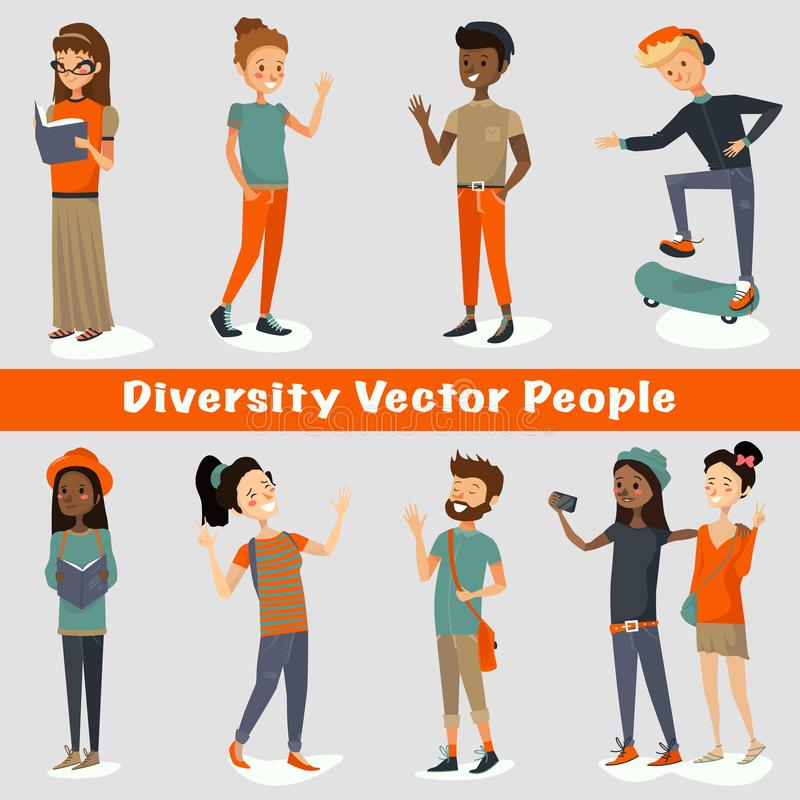 Diversity people vector illustration of a group of young adults talking, smiling, laughing, reading, traveling, taking selfies. stock illustration