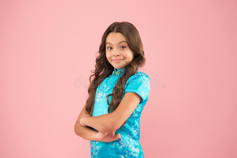 Diversity refers attributes people use to confirm themselves with respect to others. Explore different cultures. Cultural diversity. Little smiling girl wear royalty free stock photo