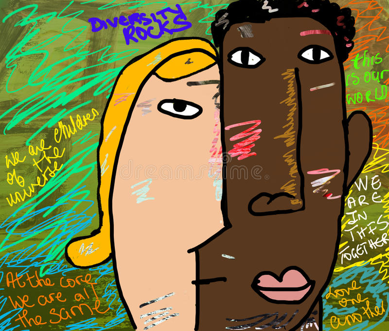 Diversity Rocks. Diversity is the condition of having or being composed of differing elements : variety; especially the inclusion of different types of people ( vector illustration