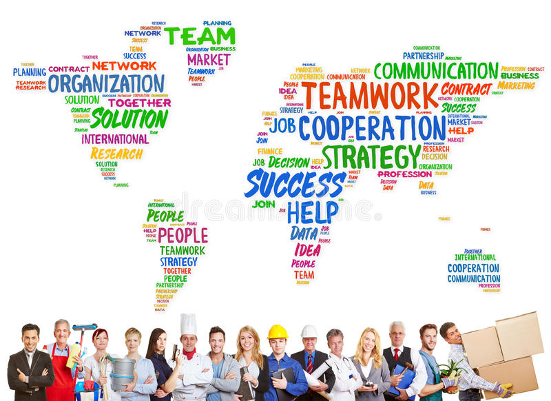 Diversity and teamwork concept with different professions. In front of a worldmap royalty free stock photography