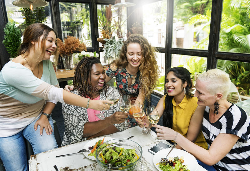 Diversity Women Group Hanging Eating Together Concept. Diversity Women Group Hanging Eating Together royalty free stock photo