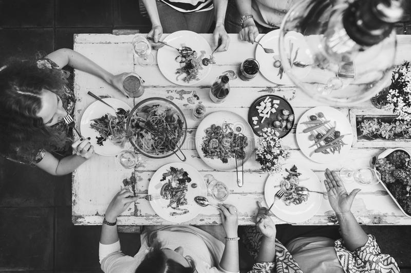 Diversity Women Group Hanging Eating Together Concept royalty free stock photo