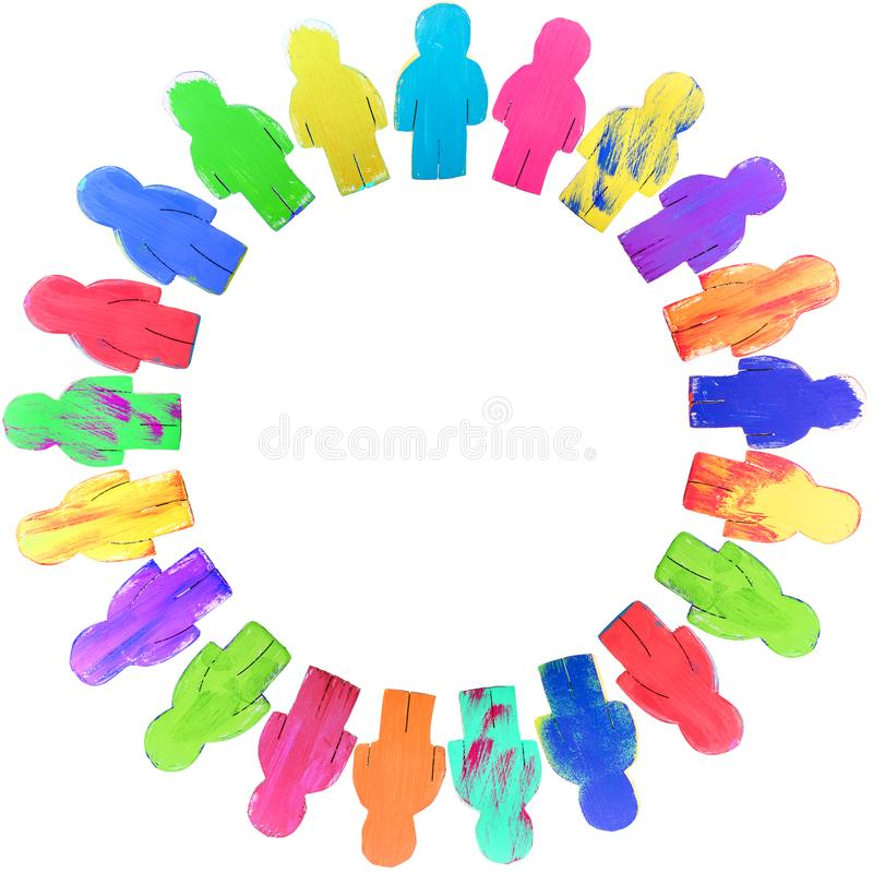 Diversity wooden figures in a circle, concept global connection. And friendship, isolated stock photos