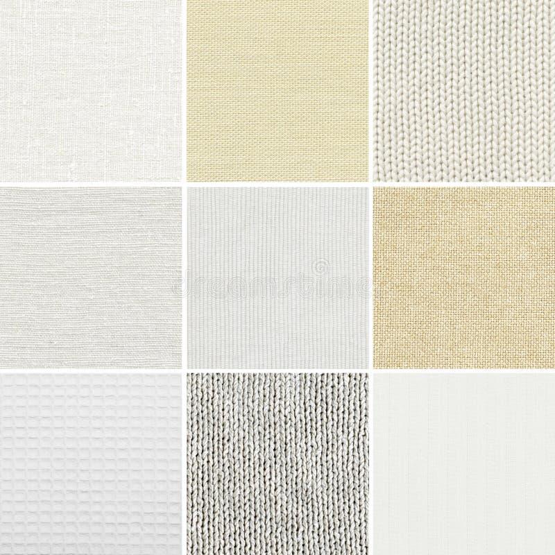Diverso algodón, lino, textura tejida fotos de archivo