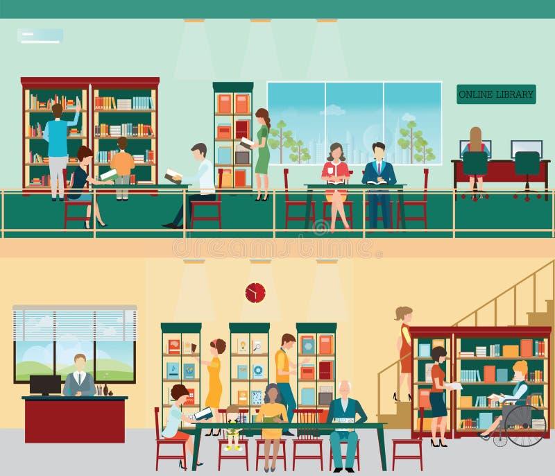 Diverso carácter de la gente en librería stock de ilustración