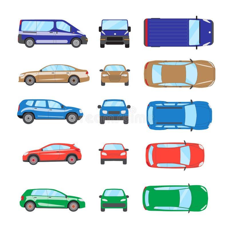 Diverso coche del transporte El coche del sedán, ventana trasera, coche universal, suv, furgoneta, mini coche fijó Colección del  stock de ilustración