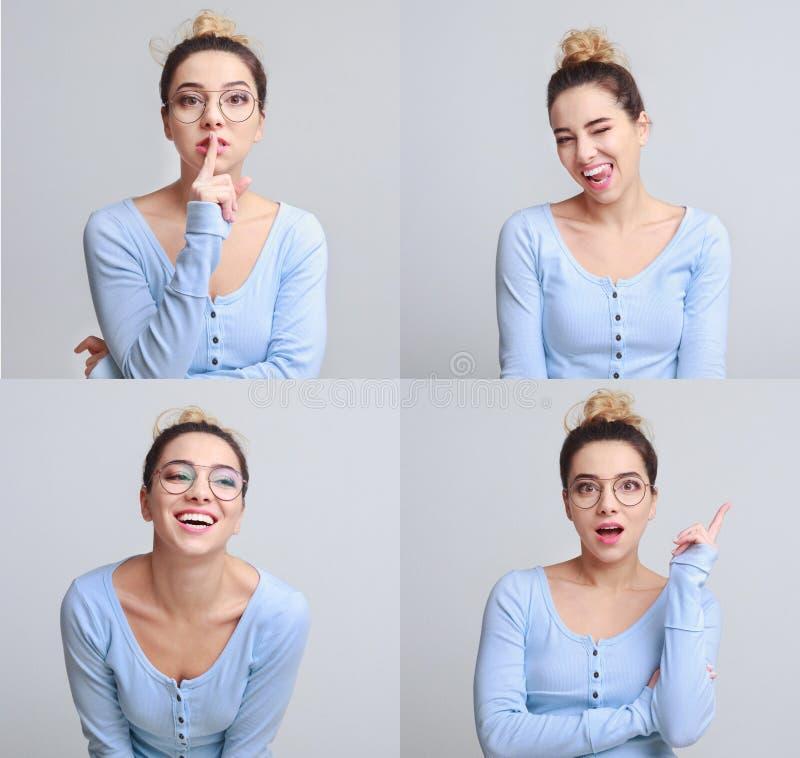 Diverso collage de las emociones Sistema de retratos emocionales de la muchacha hermosa imagenes de archivo