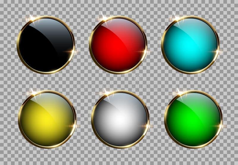Diverso color abotona con los anillos de oro aislados en fondo transparente Elementos del diseño del vector stock de ilustración