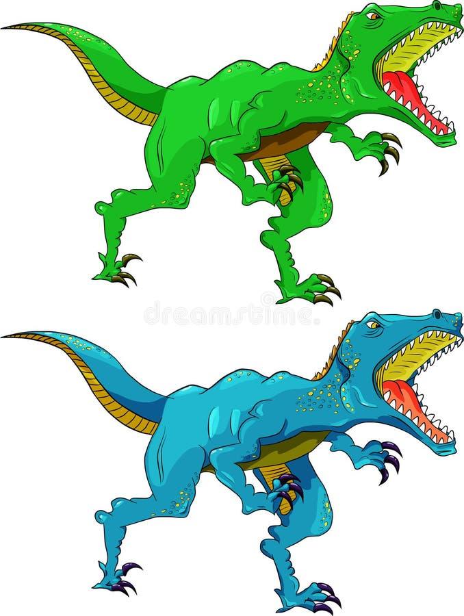 diverso color del rapaz enojado del dinosaurio stock de ilustración