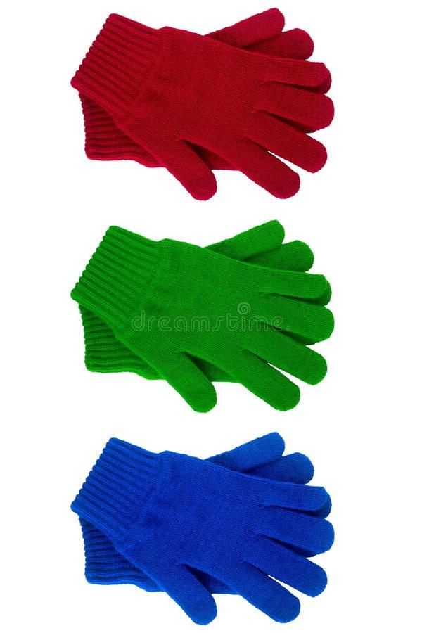 Diverso color hecho punto de los guantes imágenes de archivo libres de regalías