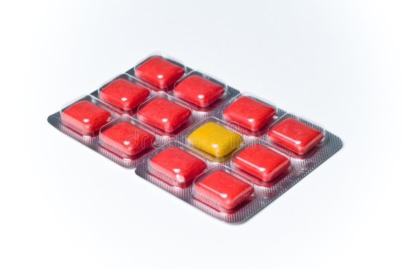 Diverso concepto coloreado del paquete de ampolla de la goma del bicho raro foto de archivo libre de regalías