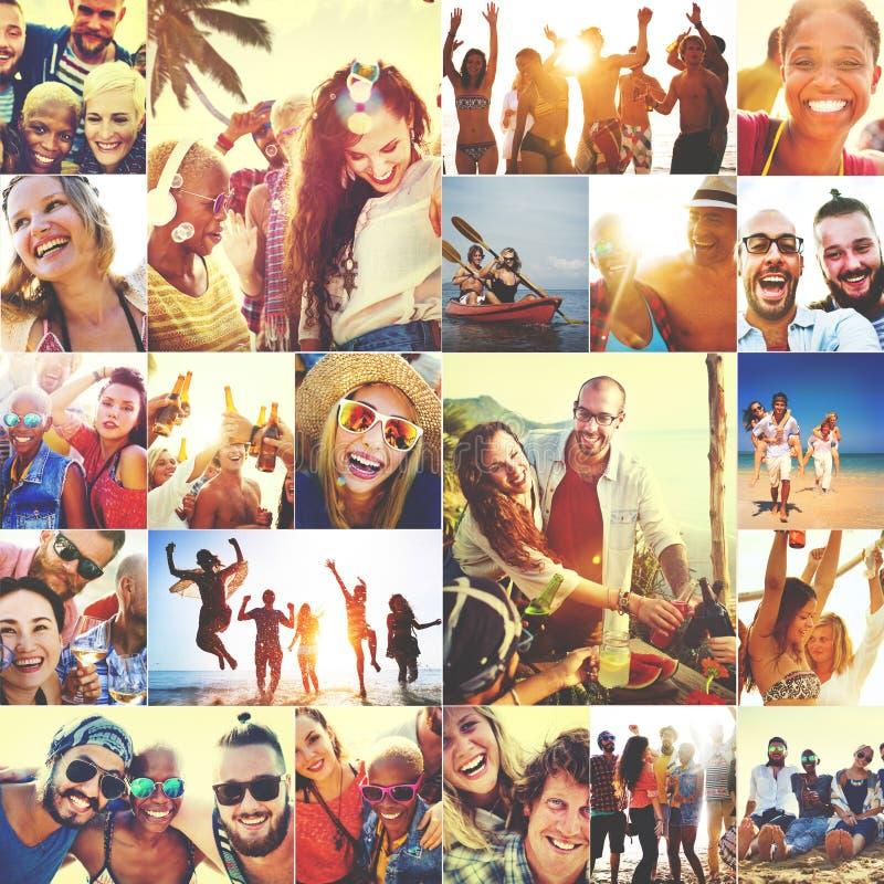 Diverso concetto della gente della spiaggia di estate dei fronti del collage fotografia stock libera da diritti