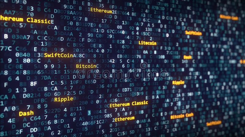 Diverso cryptocurrency nombra los subtítulos que aparecen entre el cambio de símbolos hexadecimales en una pantalla de ordenador  imagen de archivo