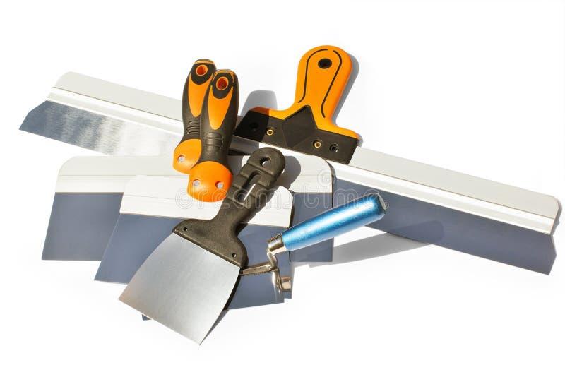 Diverso cuchillo de masilla de las longitudes para la fachada imagen de archivo libre de regalías