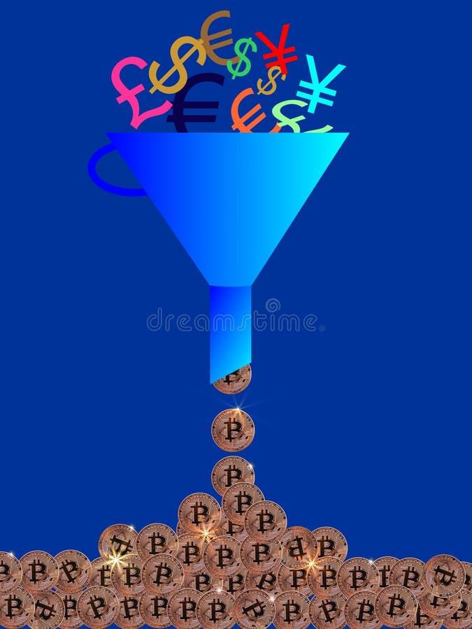 Diverso dinero de autorización de mezcla a Bitcoins fotos de archivo