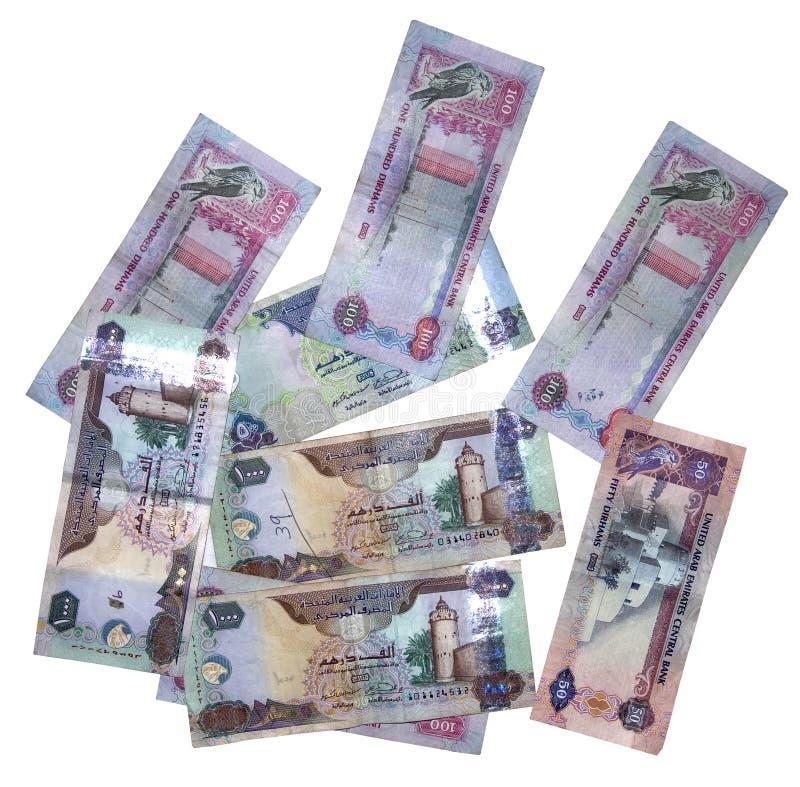 Diverso dinero en circulación de los UAE imagenes de archivo