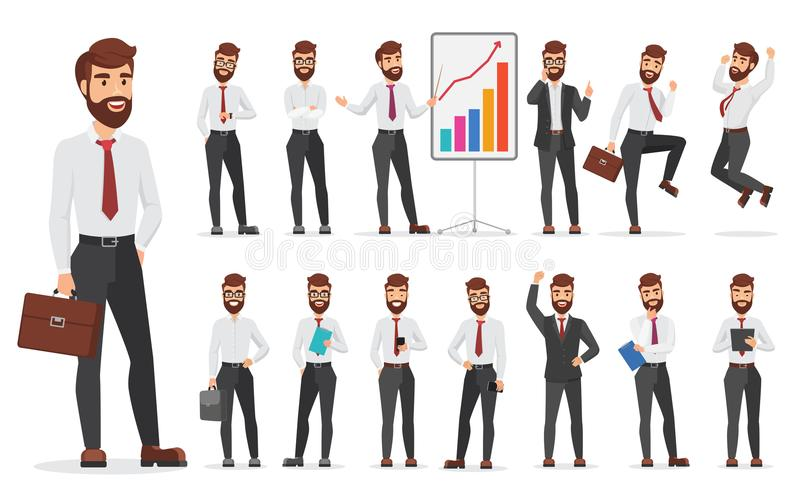 Diverso diseño de las actitudes de la oficina del carácter hermoso del hombre de negocios Ejemplo del hombre de la historieta del ilustración del vector