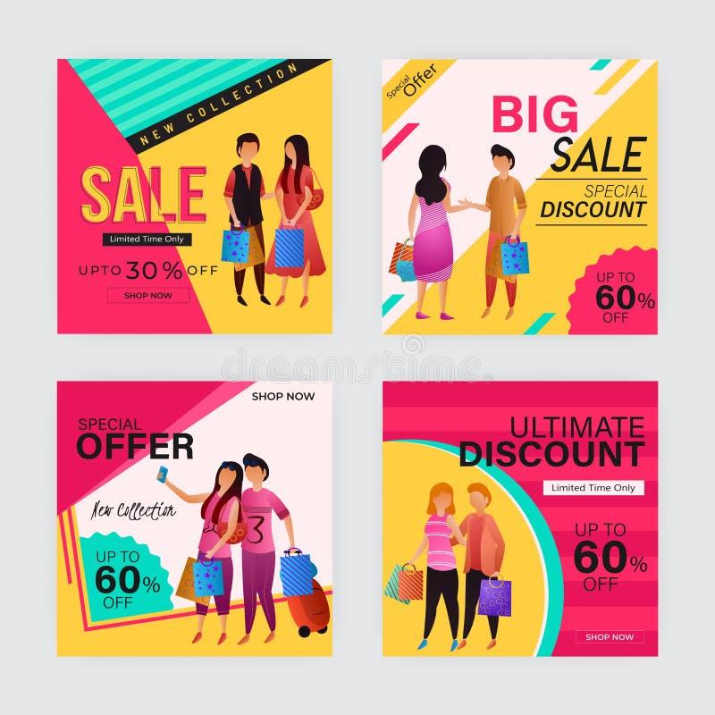 Diverso diseño del cartel o de la plantilla de la venta del estilo cuatro con descuento atractivo libre illustration