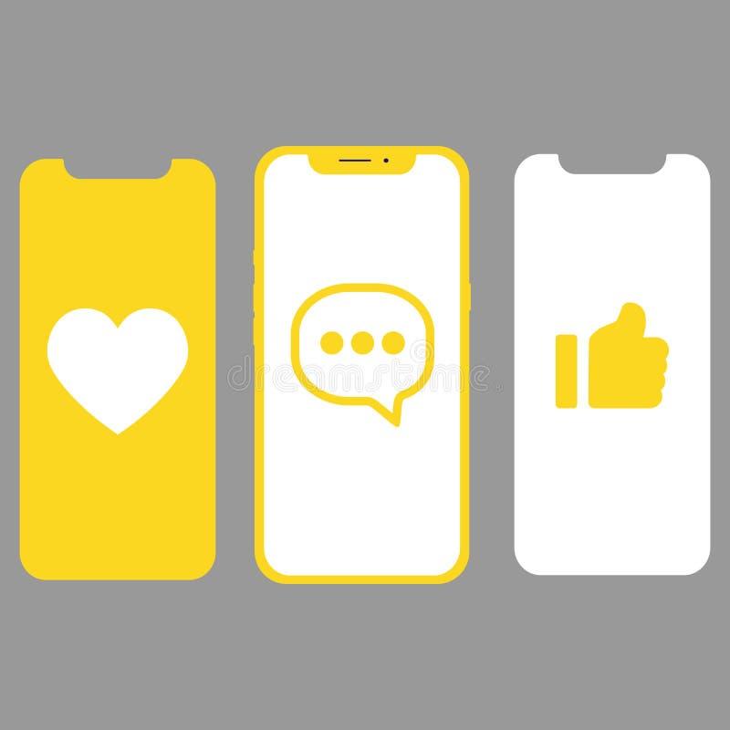 Diverso diseño UI, pantallas e iconos para el móvil stock de ilustración