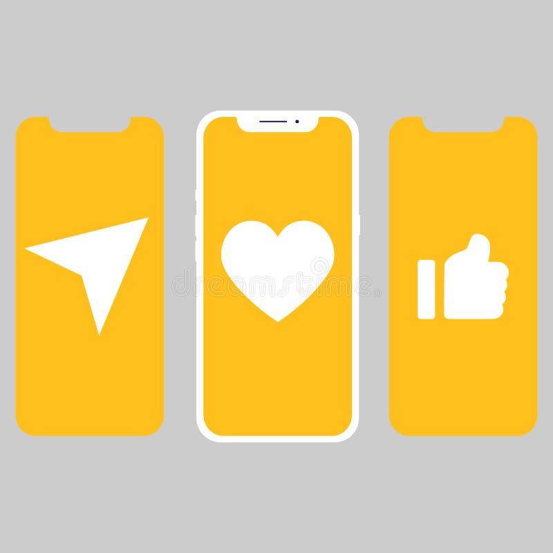 Diverso diseño UI, pantallas e iconos para el móvil ilustración del vector