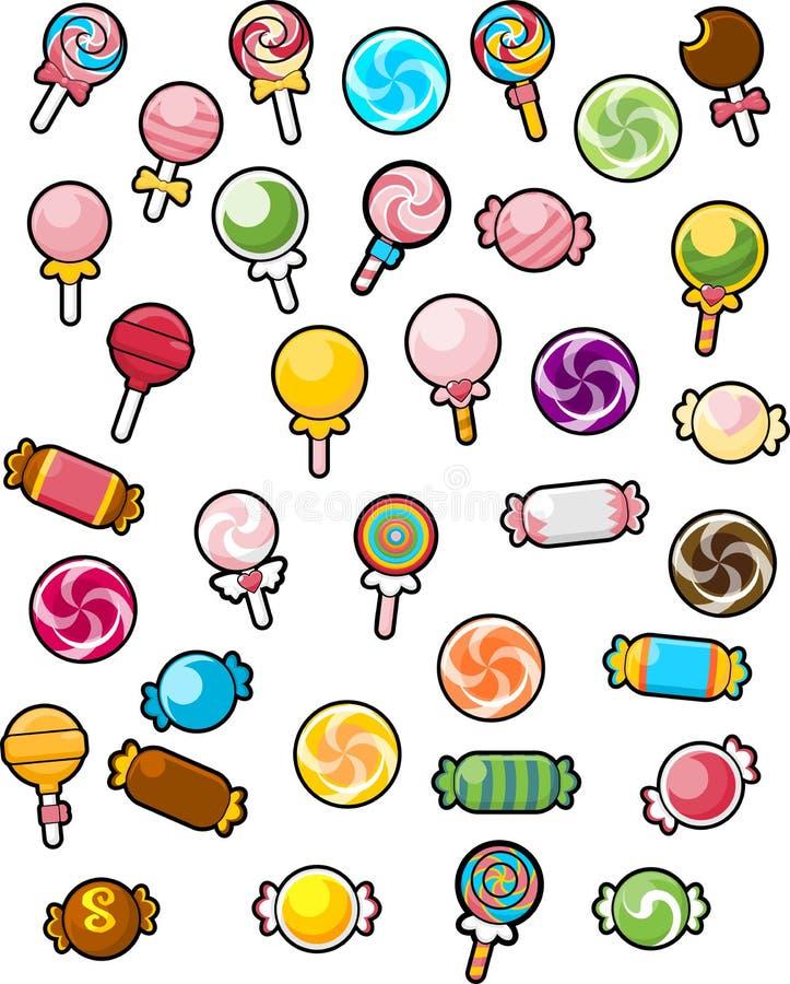 Diverso ejemplo del caramelo en el fondo blanco stock de ilustración
