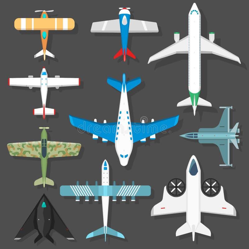 Diverso ejemplo del vector de la opinión superior de los llanos de los aviones stock de ilustración