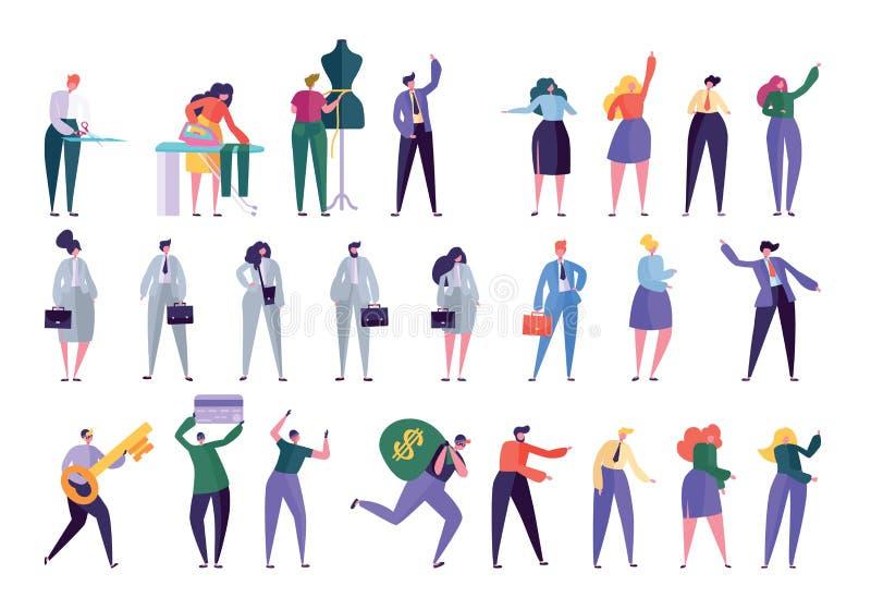 Diverso estilo del diseño del juego de caracteres Gente libre illustration