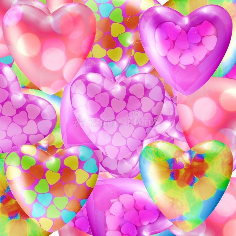 Diverso fondo del amor del corazón del multicolor stock de ilustración