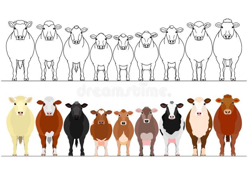 Diverso ganado en fila stock de ilustración