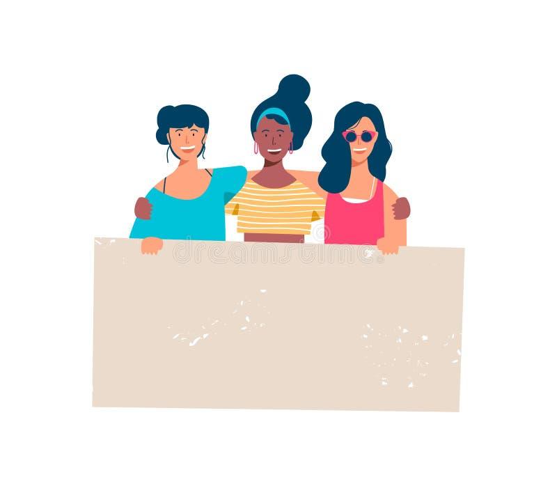 Diverso gruppo felice della ragazza che tiene insegna in bianco royalty illustrazione gratis