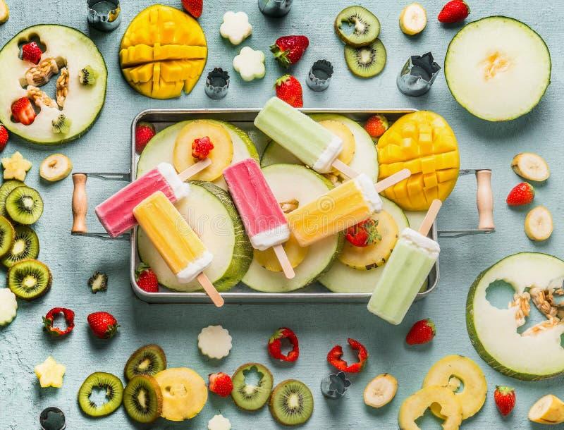 Diverso helado colorido del polo, frutas frescas y bayas en la bandeja, visión superior Comida del verano horizontal fotos de archivo libres de regalías