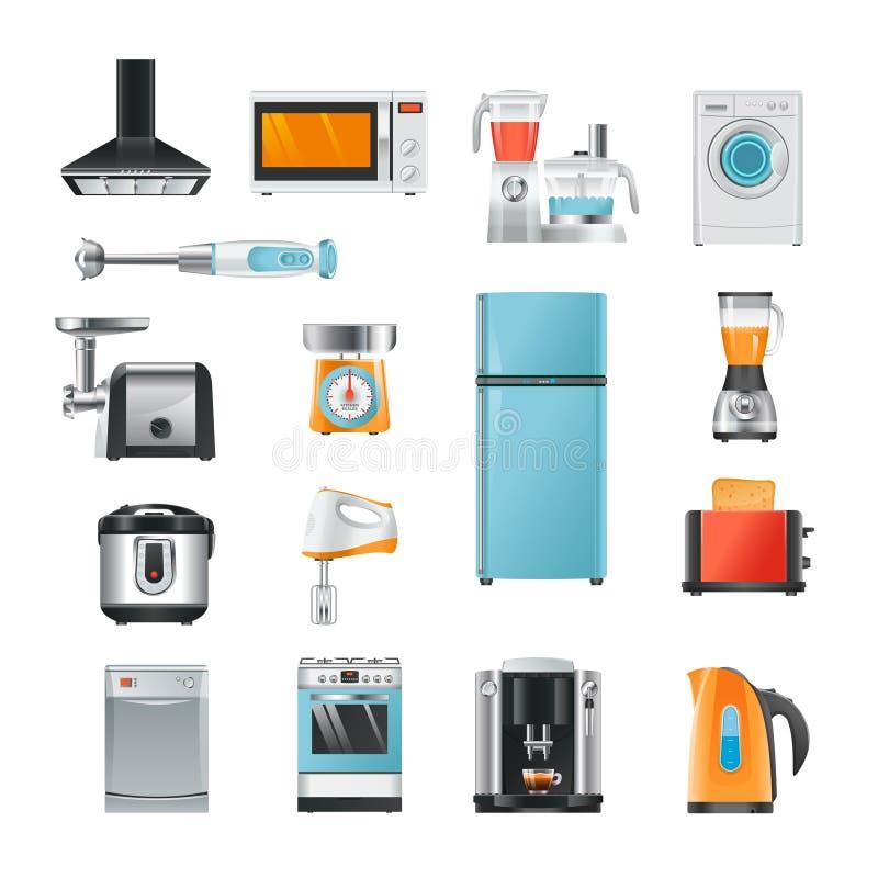 Diverso hogar en estilo de la historieta Equipo eléctrico para la cocina stock de ilustración