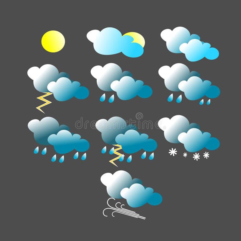 Diverso icono de las condiciones meteorológicas con la nube de cúmulo stock de ilustración