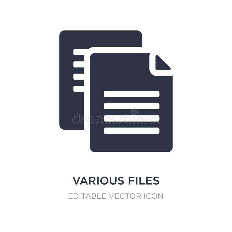 diverso icono de los ficheros en el fondo blanco Ejemplo simple del elemento del concepto de la educación stock de ilustración