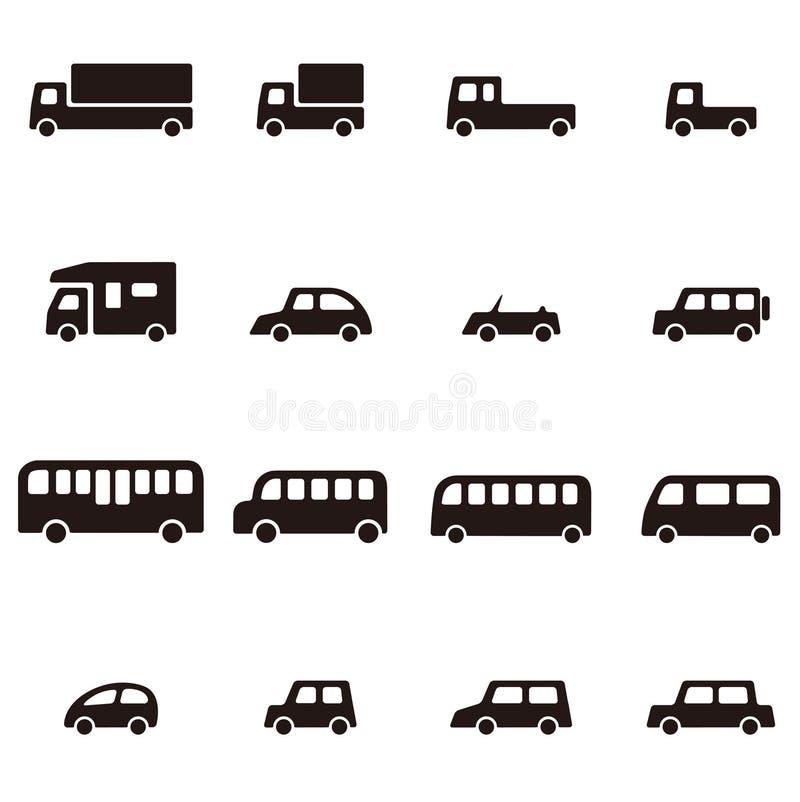 Diverso icono simple del coche ilustración del vector