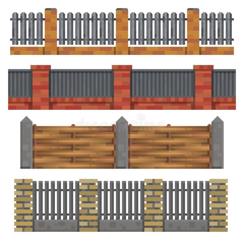 Diverso ladrillo, fances de madera Ilustración del vector ilustración del vector