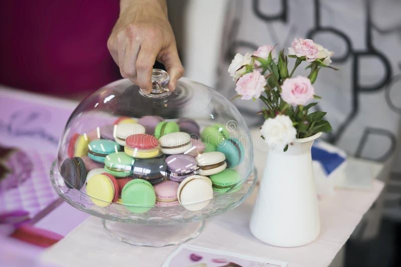 Diverso Macarons, primavera florece, las rosas, mano, fondo del pastel de la oferta Mañana romántica, regalo, presente para queri imagen de archivo libre de regalías