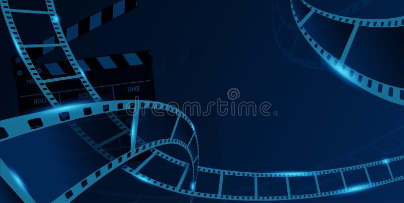 Diverso marco de la tira de la película con clapperboard aislado en fondo azul Bandera del festival del cine de la plantilla del  stock de ilustración