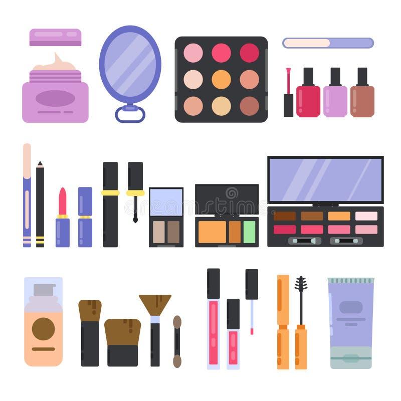 Diverso perfume y cosméticos fijados Ejemplos del maquillaje en estilo plano libre illustration