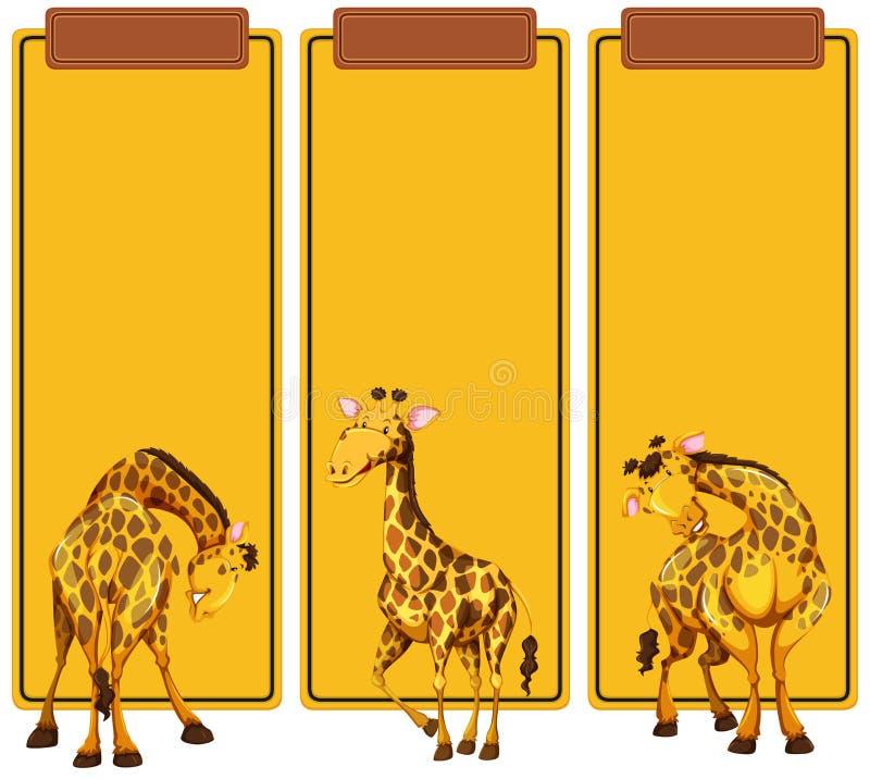 Diverso poste de la jirafa en bandera ilustración del vector