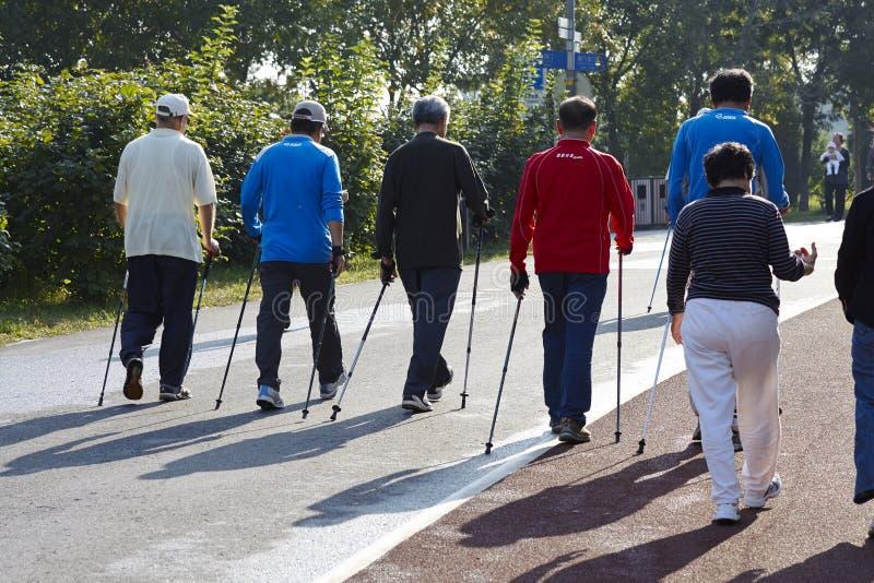 Diverso povo chinês que anda através da pista de passeio no Pequim Forest Park olímpico imagem de stock