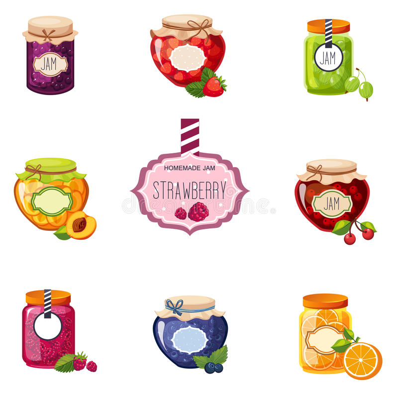 Diverso sistema de Berry And Fruit Jam Jars de ejemplos libre illustration