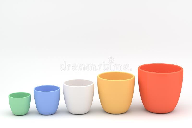 Diverso sistema de la maceta de la cerámica del color ilustración del vector