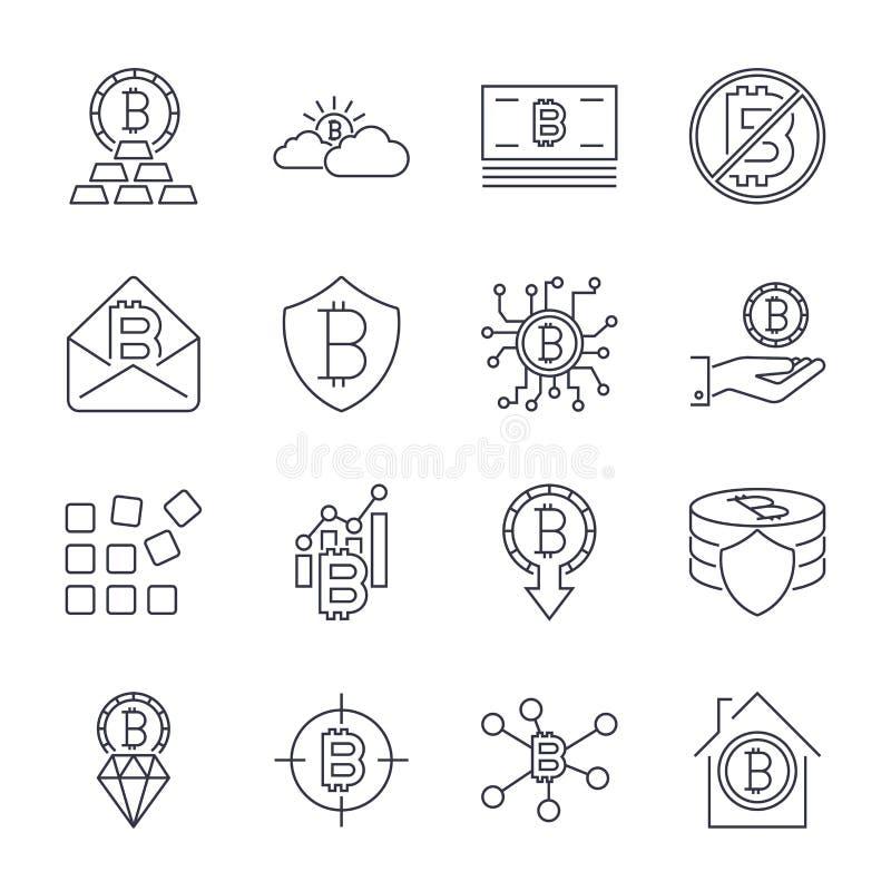 Diverso sistema de los iconos de Bitcoin para el s?mbolo de moneda crypto del dinero de Internet e imagen de la moneda para usar  stock de ilustración