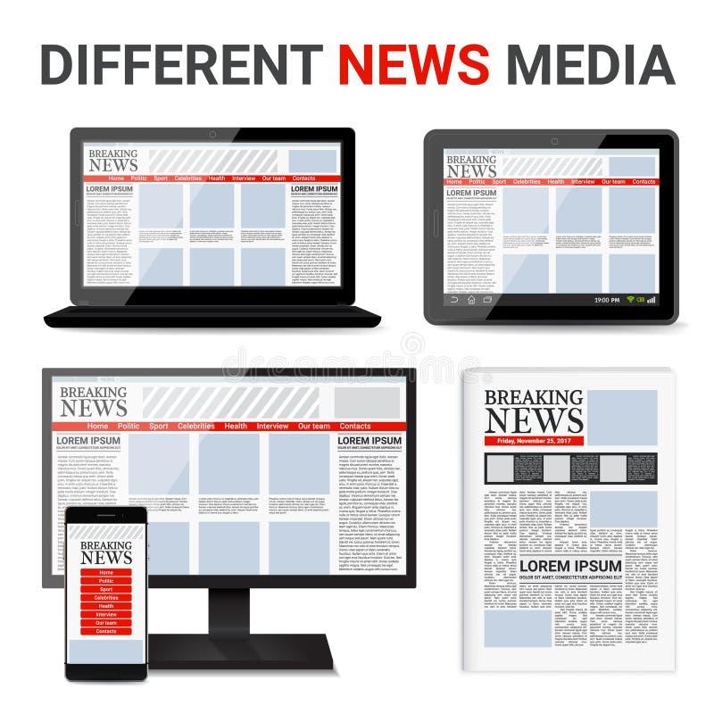 Diverso sistema de los medios de noticias libre illustration